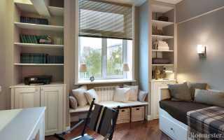 Дизайн маленькой комнаты (12 м2) с диваном.