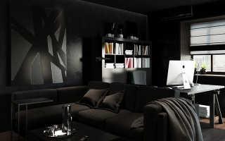 Коричневый диван в интерьере современной гостиной